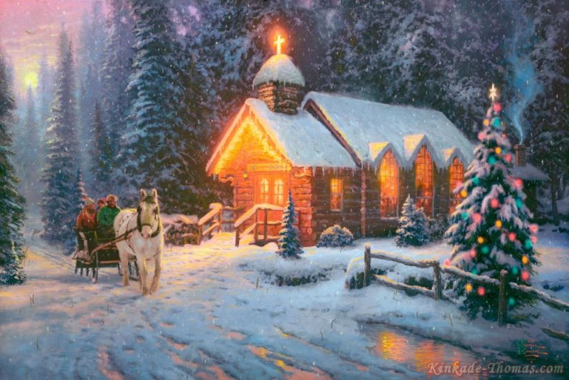 Thomas Kinkade Christmas Chapel I Painting Thomas Kinkade