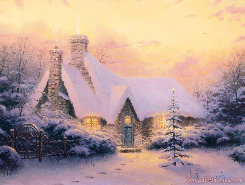Thomas Kinkade Christmas Tree Cottage Painting   Thomas Kinkade ...